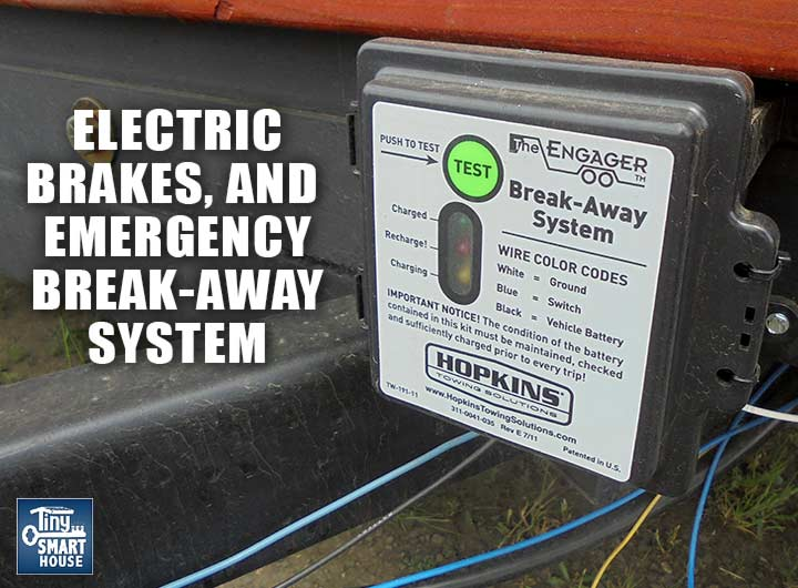 Tiny house trailer electric brakes and emergency breakaway.