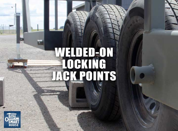 Heavy duty jack points welded to your trailer for leveling your tiny house.