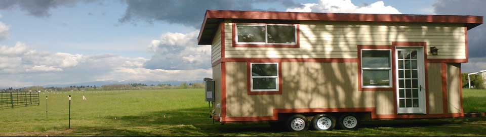 Tiny Smart House, Albany, Oregon, Willamette Farmhouse 1, triple axle trailer, farmland, grass, sky, clouds