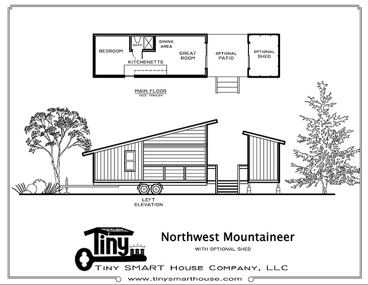 Tiny Smart House, Albany, Oregon, Northwest Mountaineer, floor plan, elevation