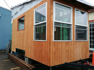 Tiny Smart House, Albany, Oregon, Mountaineer, under construction, exterior, windows