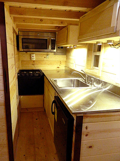 Tiny Smart House, Albany, Oregon, Oregon Trail, kitchen, interior, sink, stove, microwave