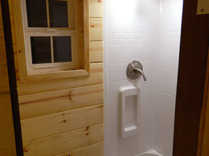 Tiny Smart House, Albany, Oregon, Oregon Trail, bathroom, toilet, interior, shower, bath