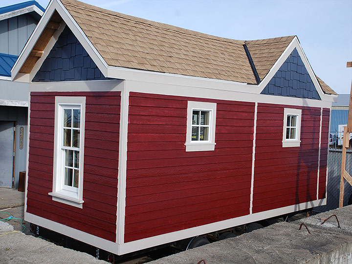 Tiny Smart House, Albany, Oregon, Washington Craftsman on display, red siding, exterior