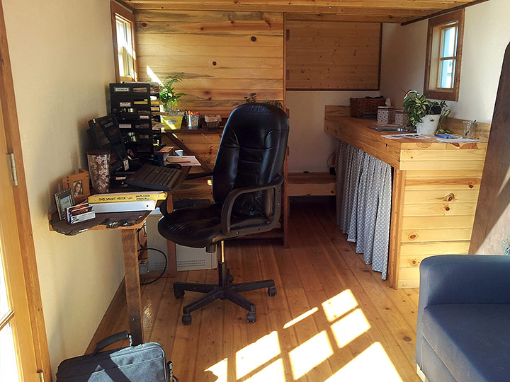 Tiny Smart House, Albany, Oregon, interior of Washington Craftsman, desk, kitchen, wood panelling