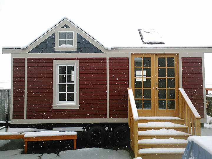 Tiny Smart House, Albany, Oregon, Washington Craftsman in the snow
