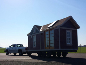 Tiny Smart House, Albany, Oregon, Washington Craftsman, trailer pulled by truck