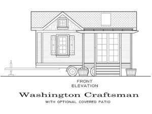 Tiny Smart House, Albany, Oregon, Washington Craftsman, Front Elevation, covered patio