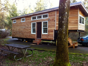 Tiny Smart House, Albany, Oregon, Willamette Farmhouse, 5th wheel trailer, fifth wheel, chairs, picnic table, exterior, outdoors