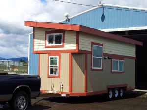 Tiny Smart House, Albany, Oregon, Willamette Farmhouse, Exterior, trailer, triple-axle trailer, truck