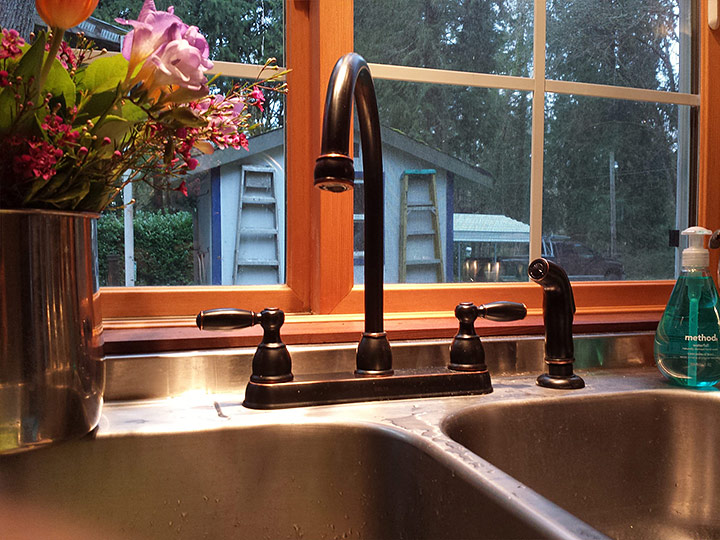Tiny Smart House, Albany, Oregon, Willamette Farmhouse, kitchen sink, interior, window, faucet, flowers