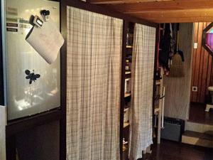 Tiny Smart House, Albany, Oregon, Willamette Farmhouse, kitchen, interior, carpet, curtains, shelves