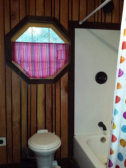 Tiny Smart House, Albany, Oregon, Willamette Farmhouse, bathroom, bath tub, toilet, octagon window, curtains