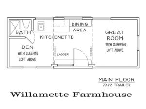 Tiny Smart House, Albany, Oregon, Willamette Farmhouse, floor plan, trailer